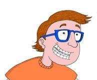 Le pojken med exponeringsglas och ortodonti royaltyfri illustrationer