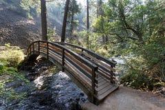 Le pont à travers l'eau qui coule dans McArthur-Burney tombe dans la forêt alpine nationale volcanique du ` s de parc de Lassen image libre de droits