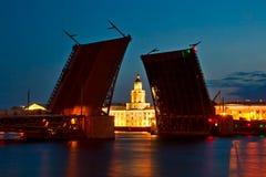 Le pont augmenté de palais, St Petersburg Images libres de droits