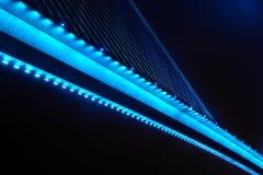 Le pont chay de Bai dans la baie Vietnam de halong s'est allumé avec l'éclairage bleu-clair Photographie stock