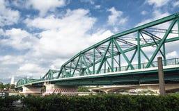 Le pont commémoratif est un pont en bascule au-dessus de Chao Phraya River à Bangkok image stock