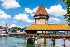 Le pont de chapelle en luzerne Photo stock