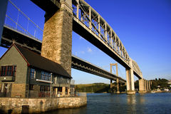 Le pont de chemin de fer le plus ancien, Plymouth, R-U Photos stock