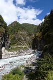 Le pont de Hillary, voyage de camp de base d'Everest, Népal image libre de droits