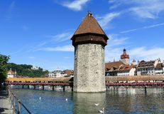 Le pont de la Suisse Chape Photo stock