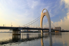 Le pont de Liede, une tour simple, double avion de câble a de soi-même ancré le pont suspendu dans la porcelaine de Canton Image stock