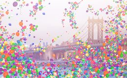 Le pont de Manhattan et beaucoup de ballons colorés volent photographie stock libre de droits