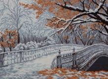 Le pont de pied par le canal Photo stock