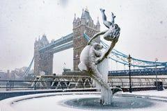 Le pont de tour à Londres, R-U, avec les chutes de neige lourdes images libres de droits