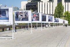 Le pont des amants avec des expositions photographiques à Sofia, Bulgarie photo stock