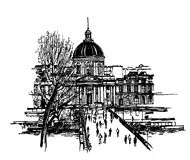 Le pont des arts. Vector illustration of le pont des arts in Paris (hand drawing Royalty Free Stock Photography