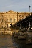 Le Pont des Arts. PARIS, FRANCE, January 26, 2016 : A pedestrian bridge (Le Pont des Arts) links the Institut de France and the central square of the Palais du Stock Image