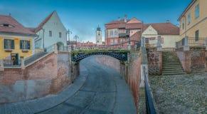 Le pont des mensonges au centre historique région de Sibiu, la Transylvanie, Roumanie Photo libre de droits