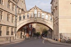 Le pont des soupirs à Oxford, R-U Image stock