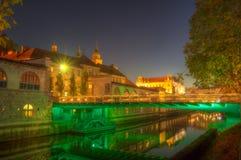 Le pont du boucher au-dessus de la rivière de Ljubljanica au centre de la ville de Ljubljana - photo de nuit Photos libres de droits