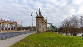Le pont du pont de Glienicke d'espions, Berlin, Allemagne image libre de droits