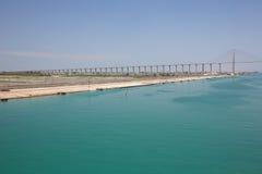 Le pont en canal de Suez sur la banque occidentale Photographie stock