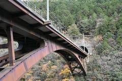 Le pont en fer croisent plus d'entre les moutains Photographie stock
