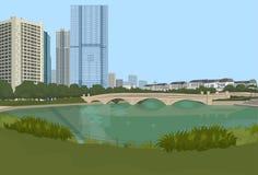 Le pont en pierre au-dessus des bâtiments de ville de fond de paysage urbain de rivière aménagent la vue en parc horizontale illustration libre de droits