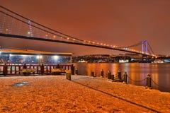 Le pont est une vue de neige image libre de droits