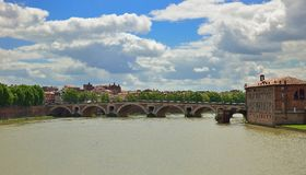 Le Pont-Neuf, an old bridge in Toulouse. Wide angle shot of le Pont-Neuf, an old bridge in Toulouse, France Stock Photography