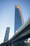 Le pont piétonnier par la place financière du monde de Changhaï (SWF Image stock