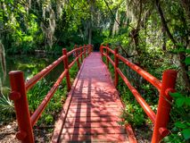 Le pont rouge au-dessus de l'eau, avec de la mousse a couvert des arbres Charleston, Sc image libre de droits