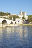 Le Pont St. Benezet and Palace of the Popes and Rhone River, Avignon, France Stock Photos