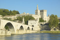 Le Pont St. Benezet and Palace of the Popes and Rhone River, Avignon, France Royalty Free Stock Image