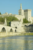 Le Pont St. Benezet and Palace of the Popes and Rhone River, Avignon, France Stock Photo