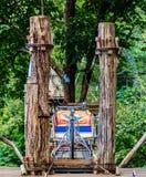 le pont sur le regard élevé d'arbre autour de la vue supérieure de forêt Photos stock