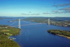 Le pont suspendu d'en haut Photo stock