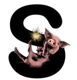 Le porc de sourire gai de Noël avec le feu du Bengale dans des ses pattes se trouve sur la lettre S, une partie de Noël de mot illustration libre de droits