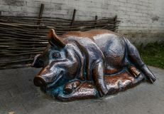 Le porc en bronze avec le museau satisfait se trouve de son côté photo libre de droits