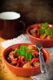 Le porc et le poivron mexicains cuisent, copient l'espace pour votre texte Image stock