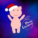 Le porc heureux de bande dessinée dans le chapeau de Santa Clauss a isolé illustration de vecteur