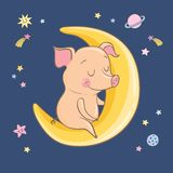 Le porc mignon de sommeil de bande dessinée se repose sur le croissant images stock