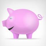 Le porc rose dans le vecteur de vue de côté a isolé l'animal Images libres de droits