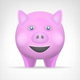 Le porc rose dans le vecteur de vue de face a isolé l'animal Photographie stock libre de droits