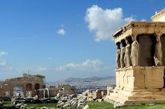 Le porche de cariatide de l'Erechtheion, Athènes, 421â407 BC photos stock