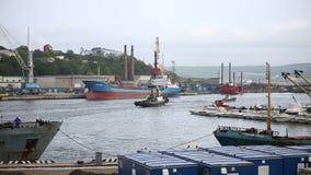 Le port avec des bateaux banque de vidéos