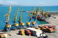 Le port commercial de Durres Images libres de droits
