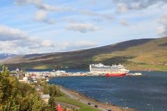 Le port d'Akureyri Image stock