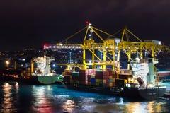 Le port de Bridgetown, Barbade la nuit images libres de droits