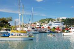 Le port de la rue George, Grenada Image libre de droits