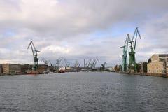 Le port de la ville Danzig, Pologne photographie stock libre de droits