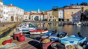 Le port de pêche de Piran Images libres de droits