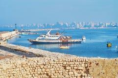 Le port oriental flou de l'Alexandrie, Egypte Photos stock