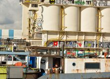 Le port oublié à Gand, usine abandonnée Photographie stock libre de droits