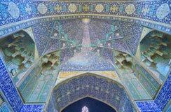 Le portail du ` s de mosquée dans le madraseh de Chaharbagh, Isphahan, Iran Photo stock